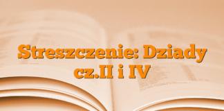 Streszczenie: Dziady cz.II i IV